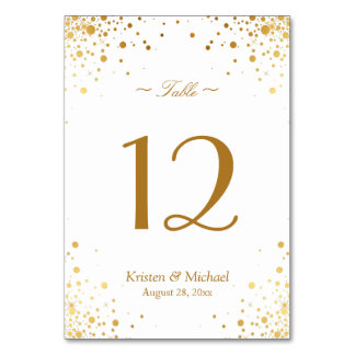 Stylish Gold Confetti Dots Wedding Table Number Card
