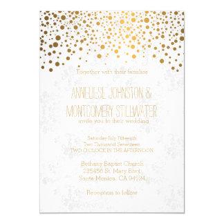 Stylish Gold Confetti Dots Wedding Theme Card