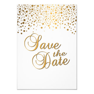 Stylish Gold Confetti Dots | White Background Card
