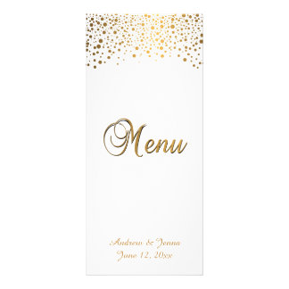 Stylish Gold Confetti Dots | White Background Rack Card