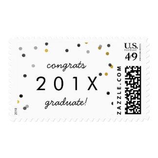 Stylish Gold Confetti Graduation Announcement Postage