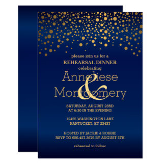 Stylish Gold Confetti & Navy Blue Rehearsal Dinner Card