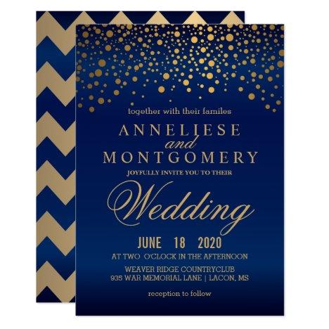 Stylish Gold Confetti Navy Blue Wedding Invitation