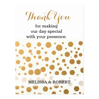 Stylish Gold Confetti Wedding Thank You