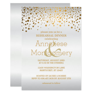 Stylish Gold Confetti & White Rehearsal Dinner Card