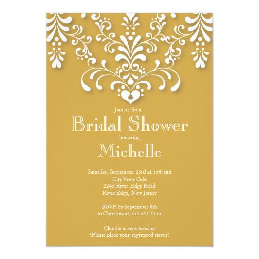 Stylish Gold Damask Bridal Shower Invitation