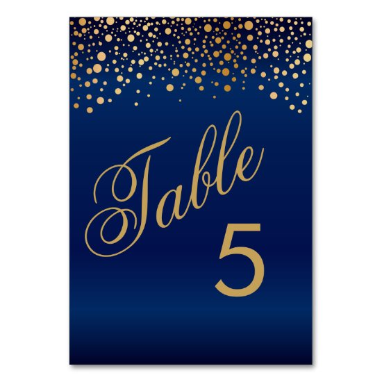Stylish Gold Dots and Navy Blue - Table Number
