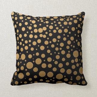 Stylish Gold Dots On Black Pillows