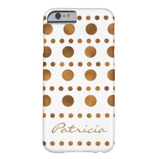 Stylish Gold Dots Pattern Personalized Barely There iPhone 6 Case