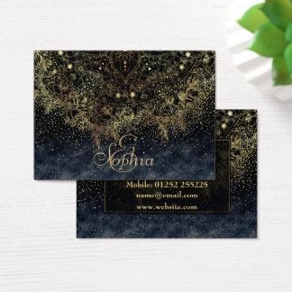 Stylish Gold floral mandala and confetti Business Card