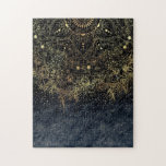 """Stylish Gold floral mandala and confetti Jigsaw Puzzle<br><div class=""""desc"""">Modern, tribal mehndi style, henna Indian floral faux gold metallic effect mandala, geometric, circle of flowers, shapes, lines, stripes, triangles, dots, girly, navy and black gradient, dark blue, background Boho chic design, dreamy feel artwork. Whimsical, feminine, trendy, simple, fashion, art. This trendy artistic image is perfect for everyday wear, or...</div>"""