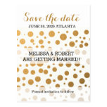Stylish Gold Foil Confetti Dots | Save the Date Postcard