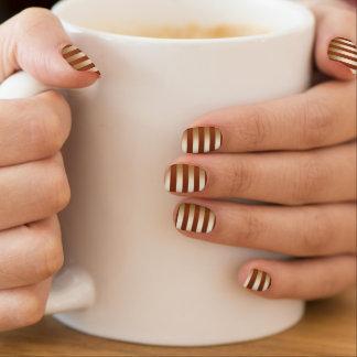 Stylish Gold Foil Stripes Blood Red Minx Nail Art