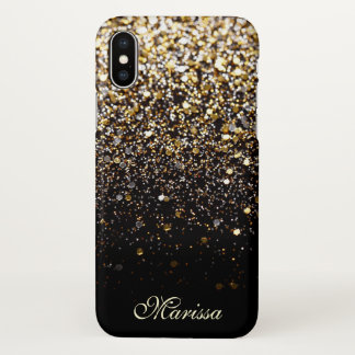 Stylish Gold Glitter Chic Black Best Beautiful iPhone X Case