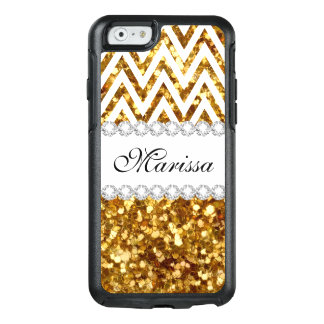 Stylish Gold Glitter Cool White Chevron Stripe OtterBox iPhone 6/6s Case
