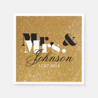 Stylish Gold glitter Mr and Mrs wedding napkins