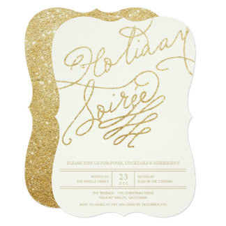 Stylish Gold Glitter Script Holiday Party Invite