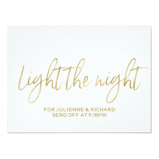 """Stylish Gold Hand Lettered """"Light the Night"""" Sign Card"""