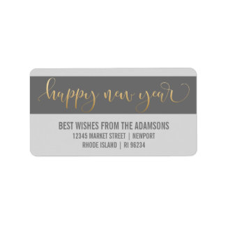 Stylish Gold Happy New Year Script Photo Label
