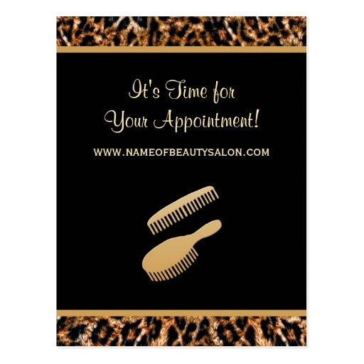Stylish Gold Leopard Salon Appointment Reminder Post Cards