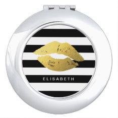 Stylish Gold Lips With Classic Black White Stripes Mirror For Makeup at Zazzle