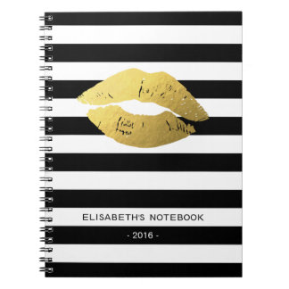 Stylish Gold Lips with Classic Black White Stripes Notebook