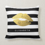 "Stylish Gold Lips with Classic Black White Stripes Throw Pillow<br><div class=""desc"">Stylish and Girly Gold Lips with Classic Black White Stripes - Personalized Name,  Monogram design for you.</div>"