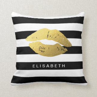 Stylish Gold Lips with Classic Black White Stripes Throw Pillow