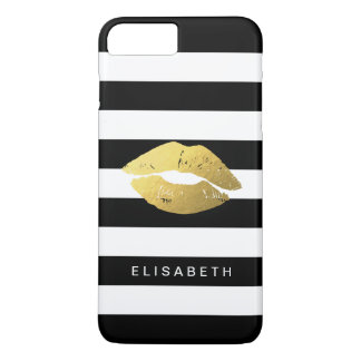 Stylish Gold Lips with Classy Black White Stripes iPhone 7 Plus Case