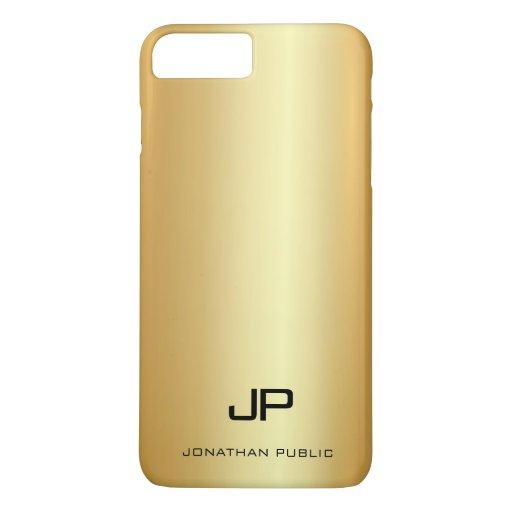 Stylish Gold Look Template Modern Monogram Name iPhone 8 Plus/7 Plus Case