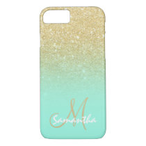 Stylish gold ombre mint green block personalized iPhone 8/7 case