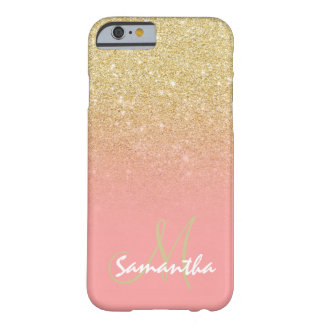 Stylish gold ombre pink block personalized barely there iPhone 6 case