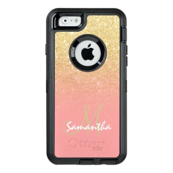 Stylish Gold Ombre Pink Block Personalized Otterbox Defender Iphone Case by girly_trend at Zazzle
