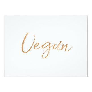 "Stylish Gold Rose Hand Lettered ""Vegan"" Sign Card"