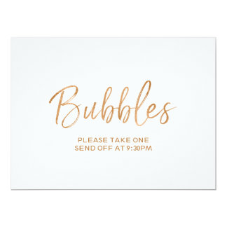 """Stylish Gold Rose Lettered """"Bubbles"""" Send Off Sign Card"""