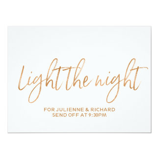 """Stylish Gold Rose Lettered """"Light the Night"""" Sign Card"""