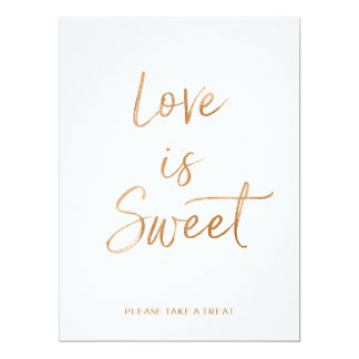 Stylish Gold Rose Lettered Love is Sweet Sign Card