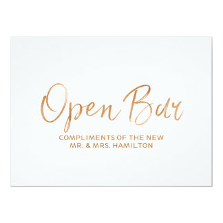 "Stylish Gold Rose Wedding ""Open Bar Sign"" Sign Card"