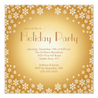"Stylish Gold Snowflakes Holiday Party Invitation 5.25"" Square Invitation Card"
