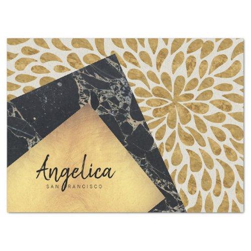 Stylish Gold Teardrop Black Marble Stone Monogram Tissue Paper