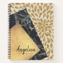 Stylish Gold Teardrop Paint Black Marble Monogram Notebook