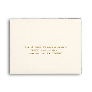 Stylish Gold Tone and Ivory Wedding RSVP Envelopes