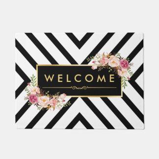 Stylish Gold Vintage Floral Black White Pattern Doormat