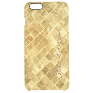 Stylish Gold Wall Brick Pattern with Monogram Name Clear iPhone 6 Plus Case
