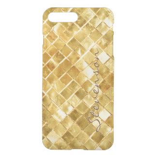 Stylish Gold Wall Brick Pattern with Monogram Name iPhone 7 Plus Case