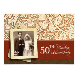 "stylish golden 50th anniversary photo invitations 5"" x 7"" invitation card"