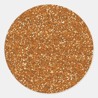 Stylish Golden Orange Glitter Classic Round Sticker