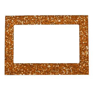 Stylish Golden Orange Glitter Magnetic Picture Frame