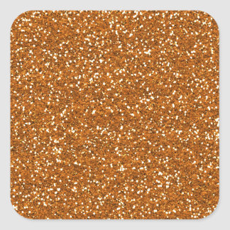 Stylish Golden Orange Glitter Square Sticker