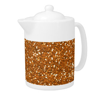 Stylish Golden Orange Glitter Teapot
